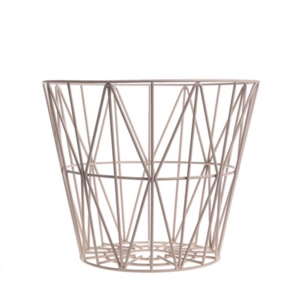 Rose coloured Wire Basket Small