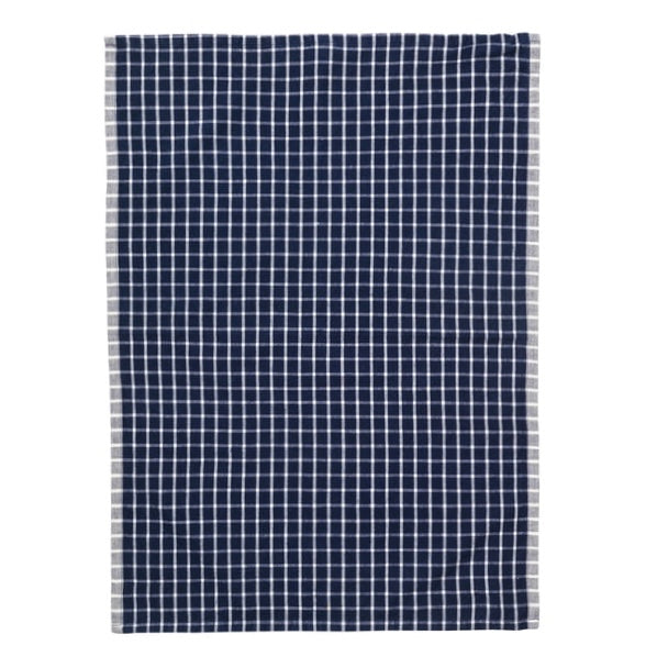 Blue and white square pattern cotton tea towel