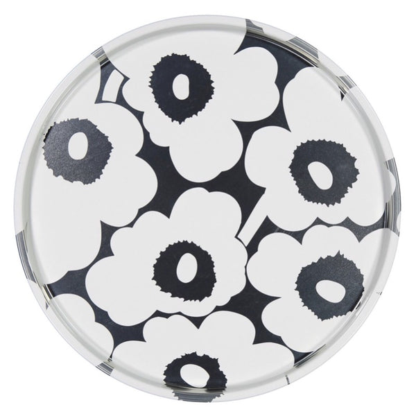 Marimekko Unikko Peltitarjotin Tin Tray 46cm in grey and white