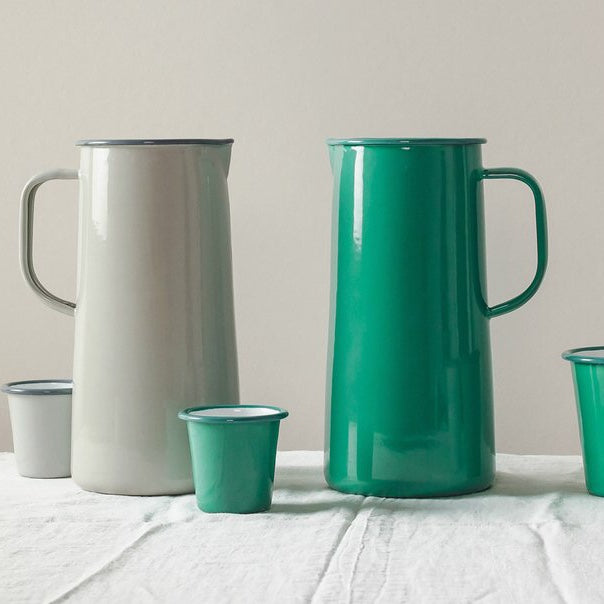 Falcon Enamelware 3 pint jugs in oyster grey and spring green