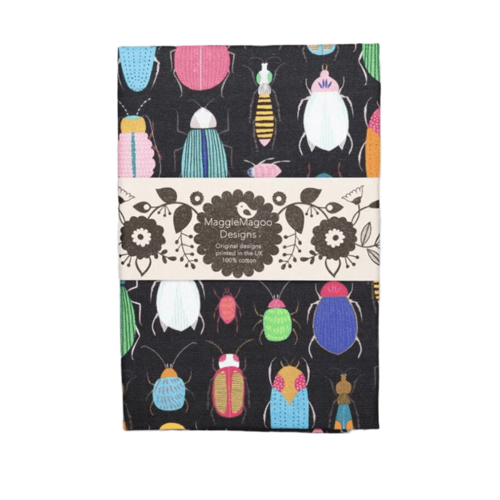 Maggie Magoo dark bugs cotton tea towel