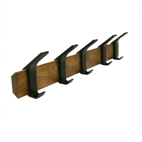 Dark wood coat hanger with black metal hooks