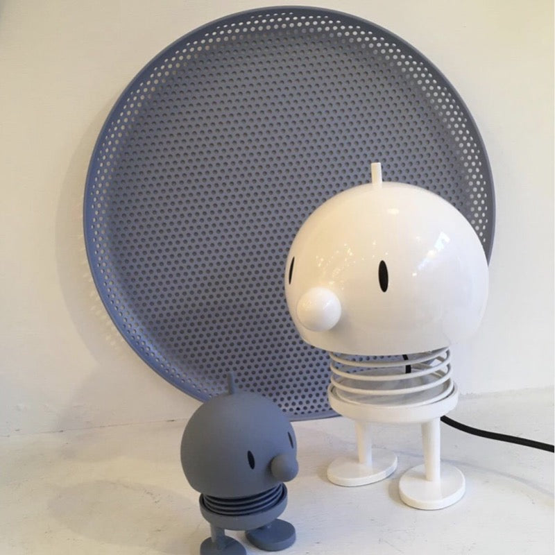 White Bumble Lamp Large and blue small Bumble at Indish Interiors