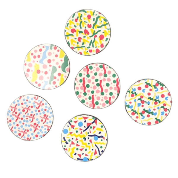 Set of 6 colourful round melamine coasters in the MiraMare pattern by Jonna Saarinen