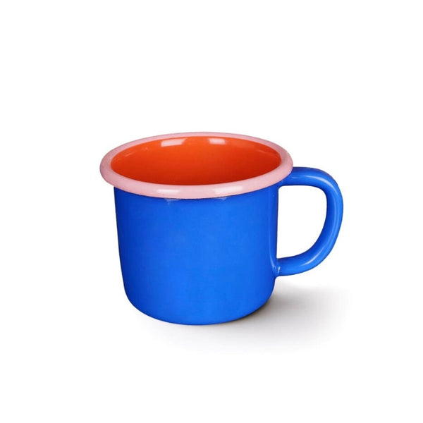 Blue, red and pink enamel mug