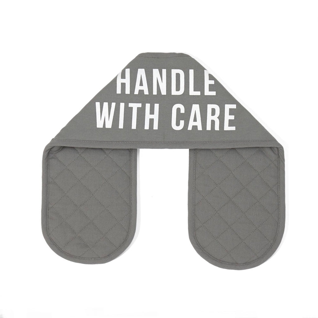 Handle with Care grey Oven Gloves by The School of Life