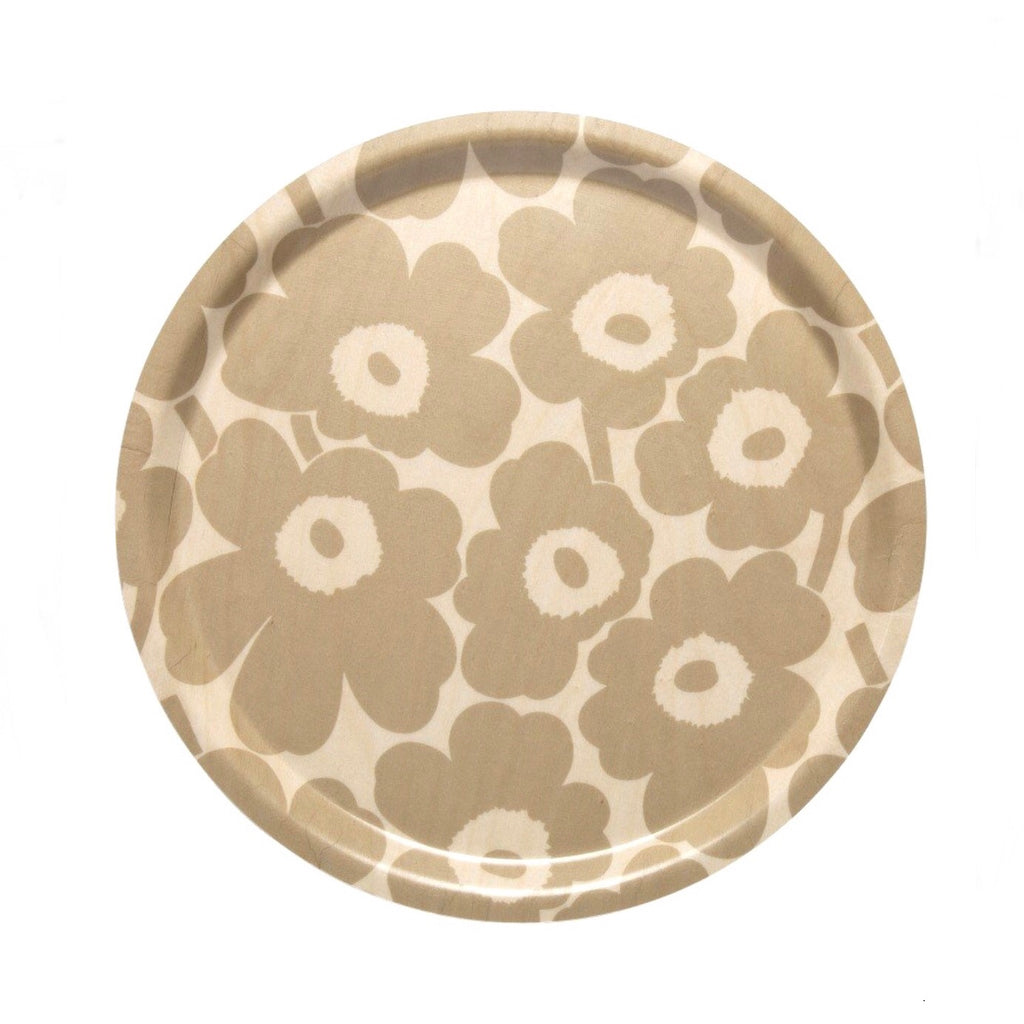 Beige and brown Unikko Round Birch Plywood Tray 31cm by Marimekko