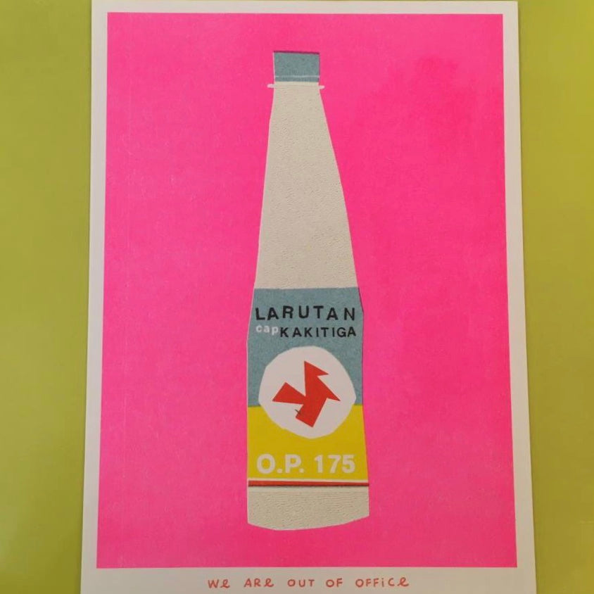 Multicoloured Riso print Bottle Kakitiga 13 x 18 cm by We Are Out of Office