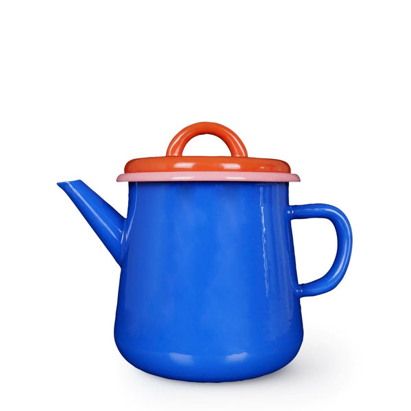 Blue, pink and red enamel teapot
