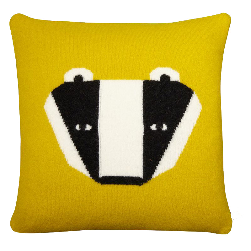 Wool Badger Cushion in mustard by Donna Wilson