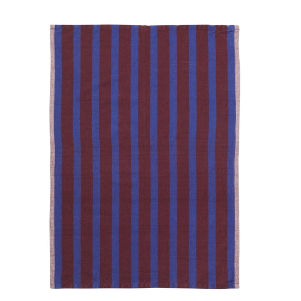 Brown and navy blue striped cotton tea towel