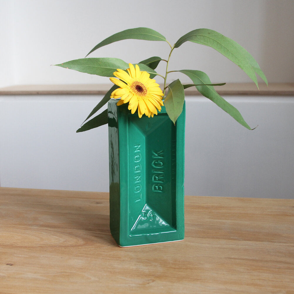 Ceramic green brick vase