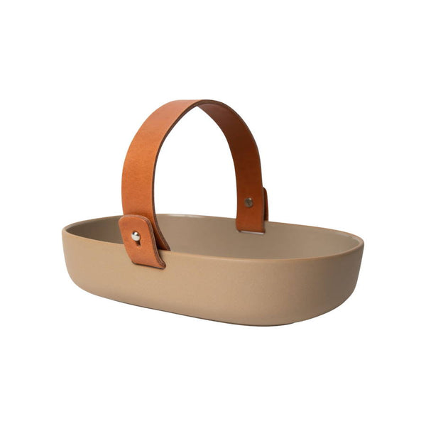 Koppa Serving Dish Terracotta with a leather handle by Marimekko