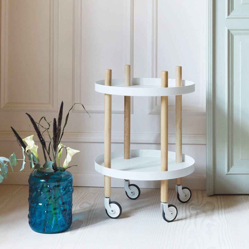 Round Block Table Trolley in white by Normann Copenhagen
