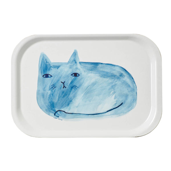 Melamine rectangular tray with blue cat