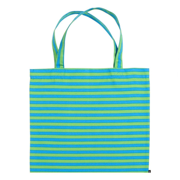 Marimekko Tasaraita stripe pattern cotton tote bag in turquoise and green