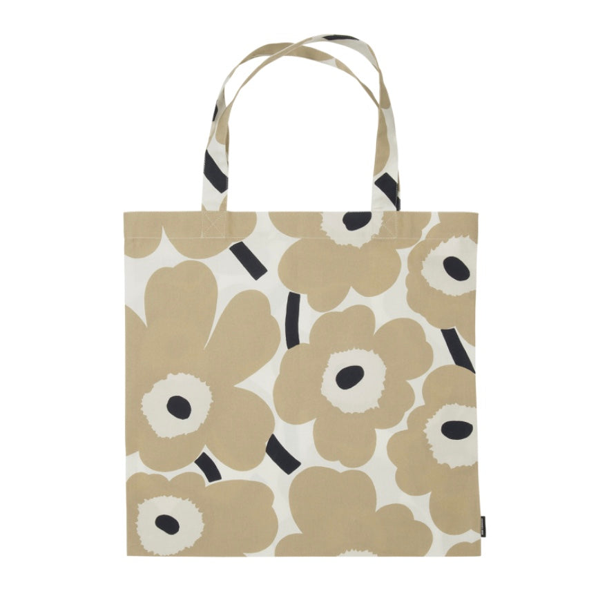 Pieni Unikko Cotton Tote Bag 44x43cm in beige, off-white and dark blue