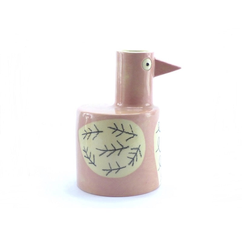 Ken Eardley Bird Bottle vase in soft pink