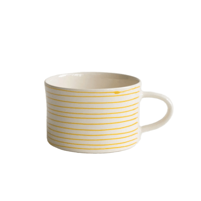 Ceramic yellow thin striped mug