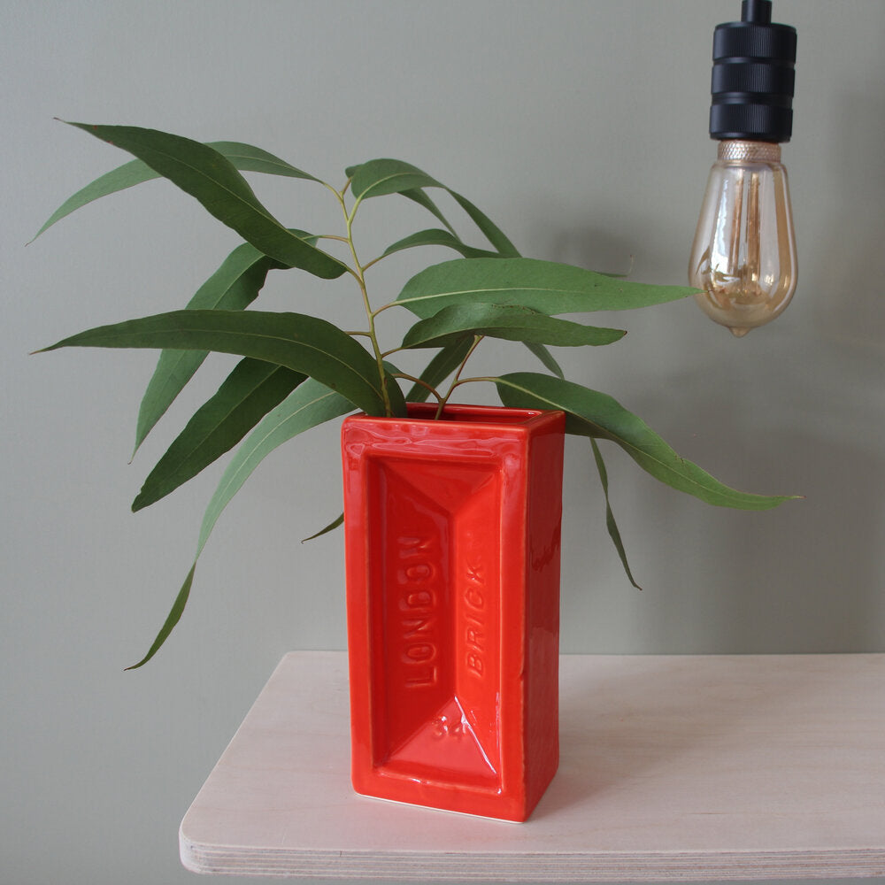 Ceramic orange brick vase