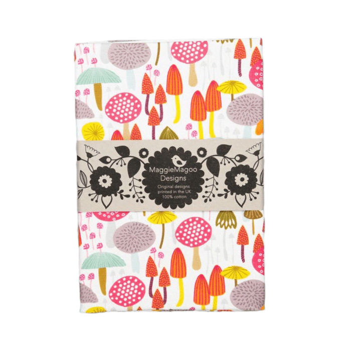 Maggie Magoo light toadstools cotton tea towel