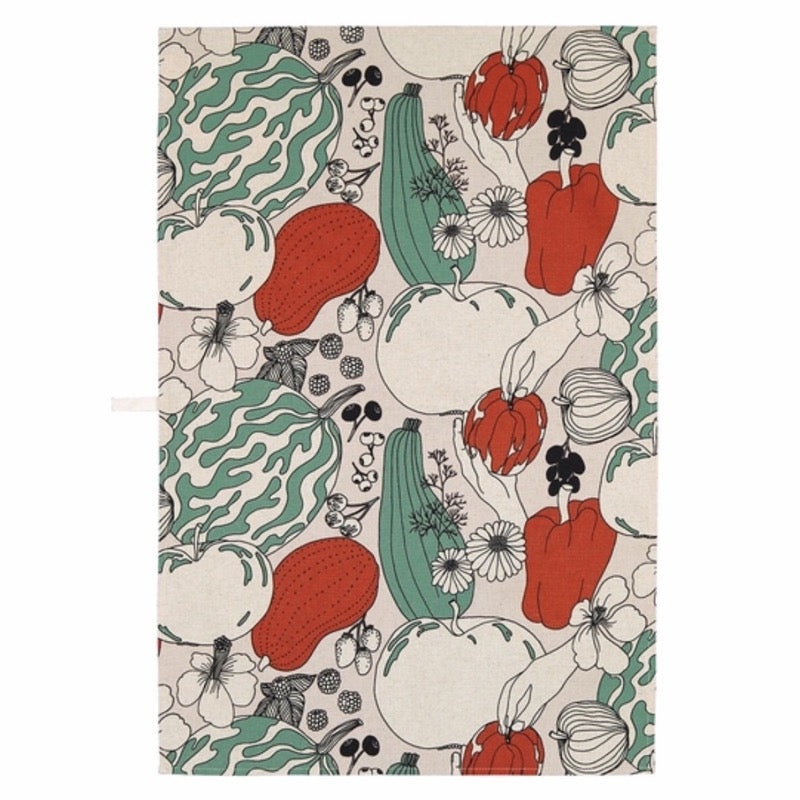 Marimekko Vihannesmaa pattern cotton tea towel in off-white, red and green