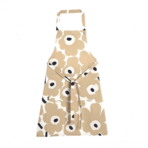 Pieni Unikko Cotton Apron in beige, off-white and dark blue