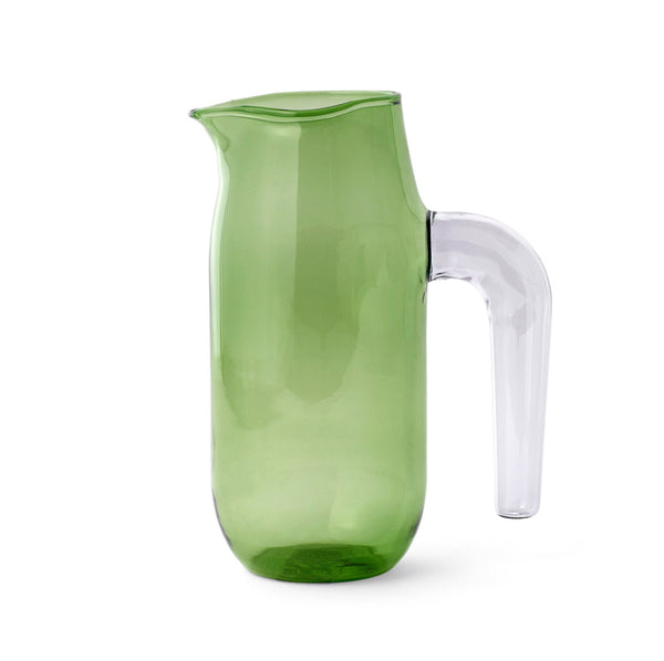 Large green borosilicate glass jug with clear handle by HAY