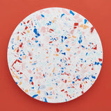 Round multi coloured Jesmonite Terrazzo placemat