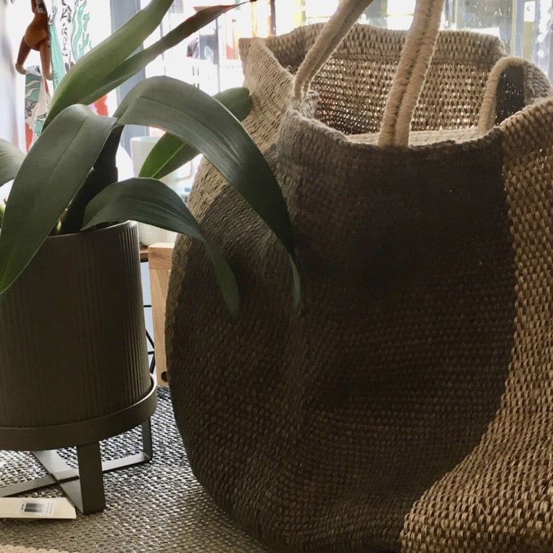 Maison Bengal extra large jute bag in natural with central grey stripe at Indish Interiors