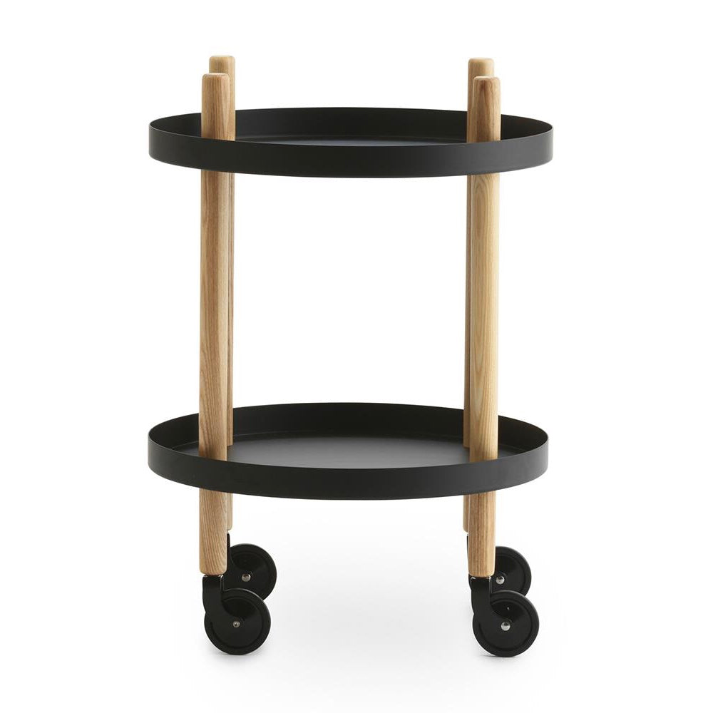Round Block Table Trolley in black by Normann Copenhagen