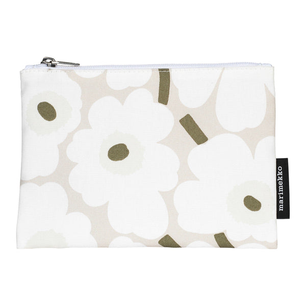 Marimekko makeup bag in the mini Unikko pattern in beige, white, grey green