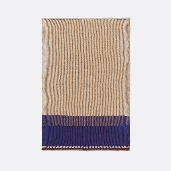 Honey gold and blue Akin Knitted cotton tea towel