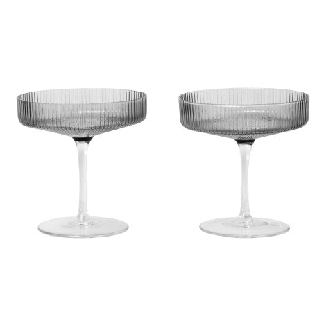 Ripple Champagne Saucers Smoked Grey Set of 2 - indish-design-shop-2