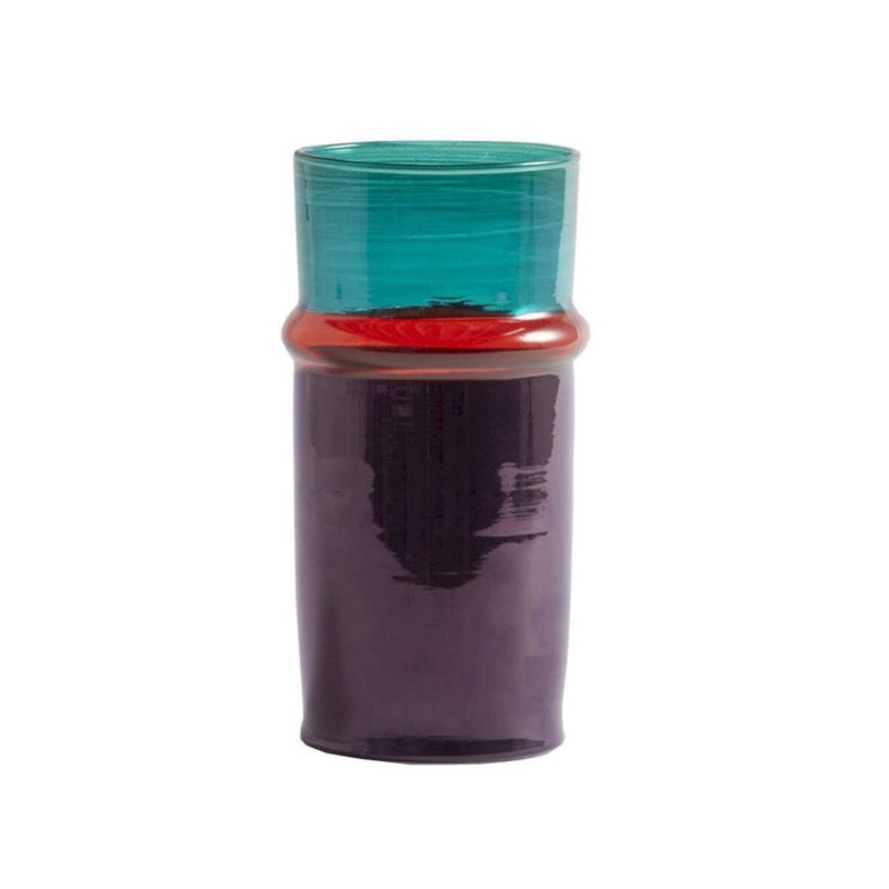 Moroccan Glass Vase Small in purple and green