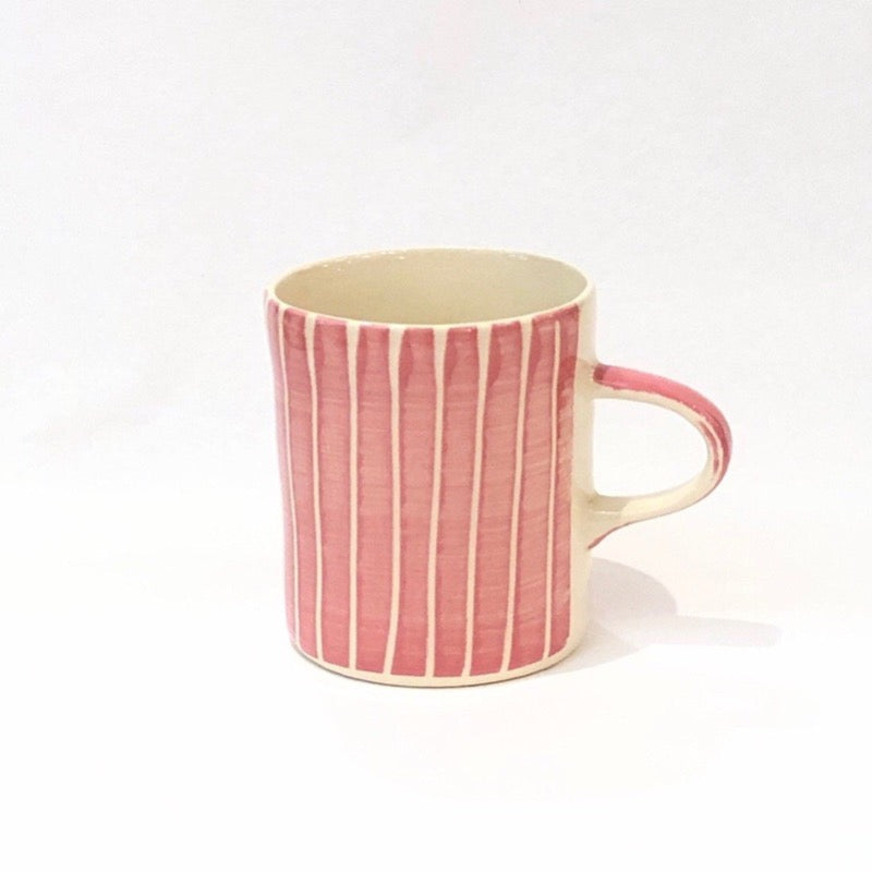 Ceramic mug in rose red stripes