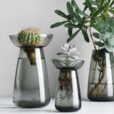 Kinto Grey glass culture vases