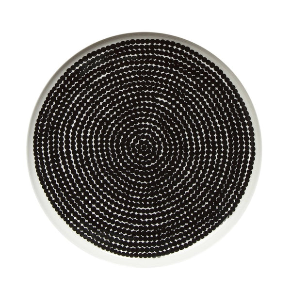 Räsymatto Plate 25cm diameter in white and black