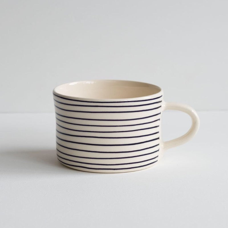 Ceramic grape purple thin striped mug