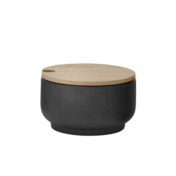 Stelton black ceramic and wood sugar bowl