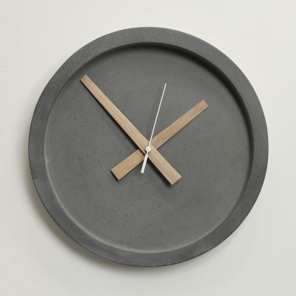 Concrete Wall Clock Oak Hands