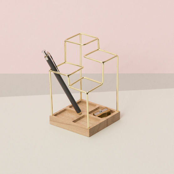 Sketch Desk Tidy Brass