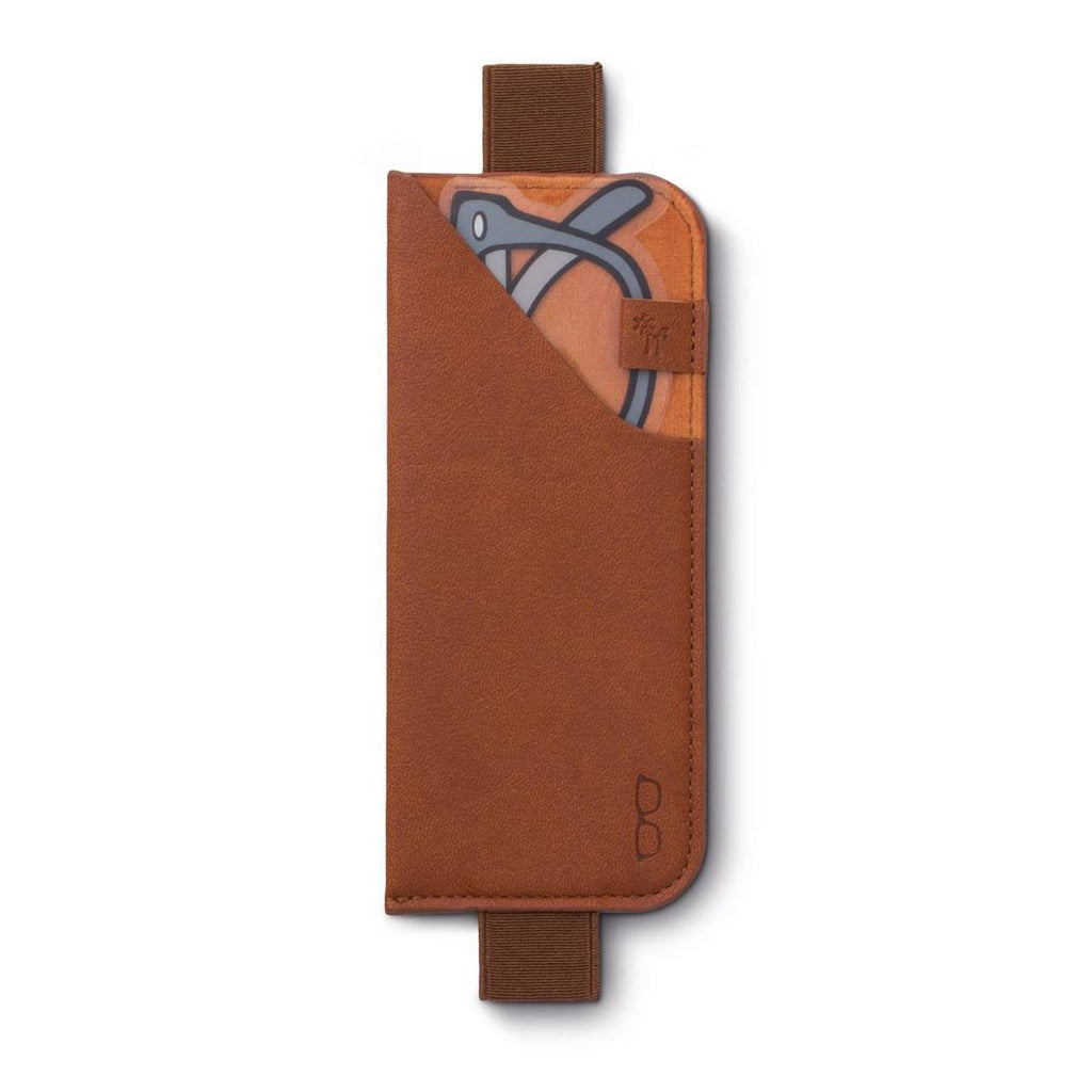 Brown strap on book glasses case