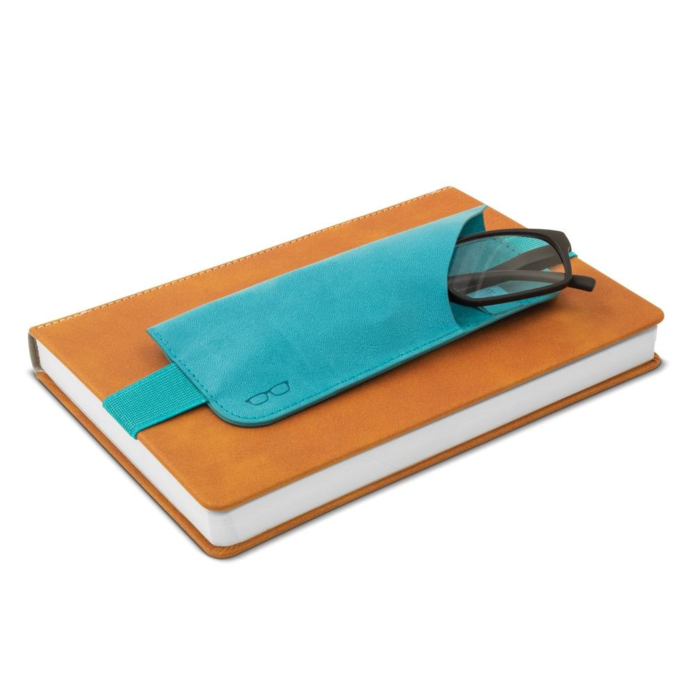 Turquoise strap on book glasses case