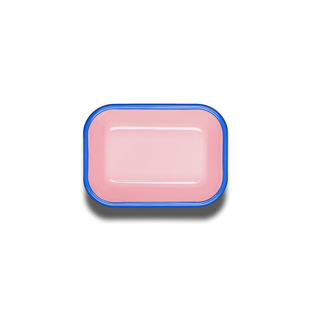 Enamelware rectangular dish in pink and blue
