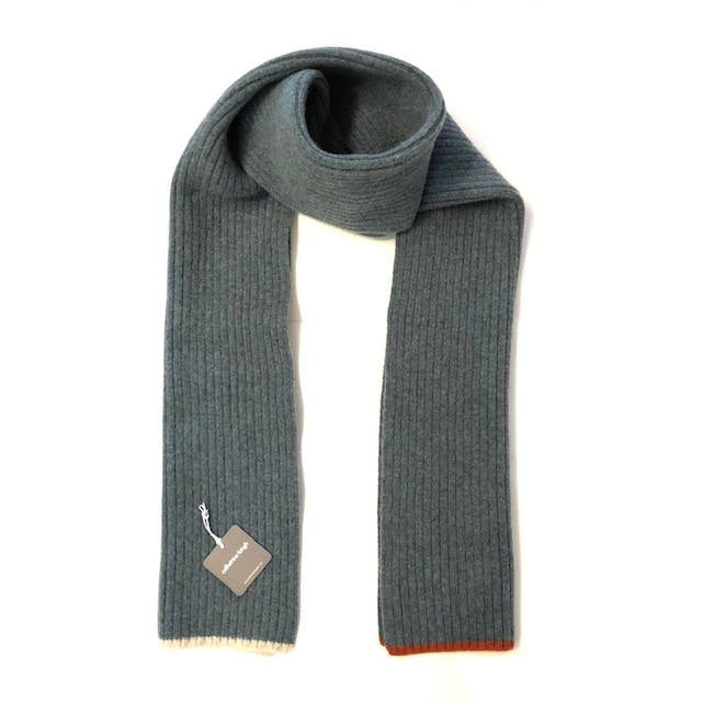 Catherine Tough lambswool Ribbed scarf in greyish green