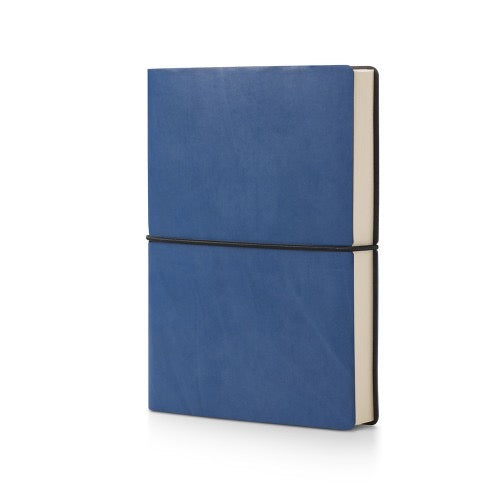 blue leather bound plain notebook