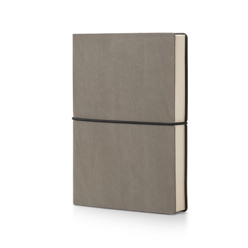 grey leather bound plain notebook