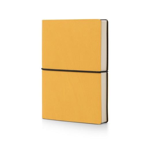 yellow leather bound plain notebook