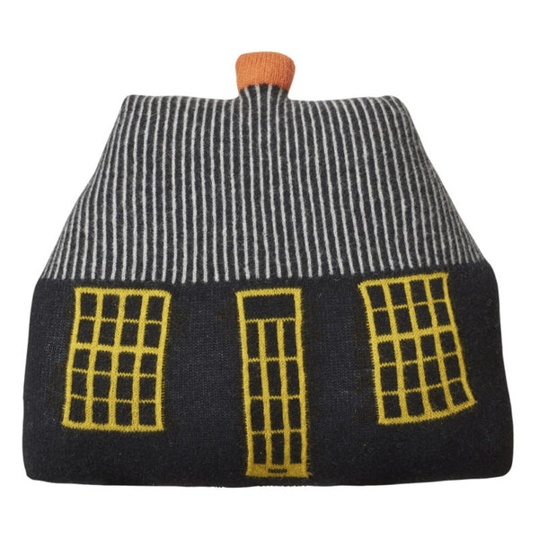 Donna Wilson cottage cushion in dark grey, yellow, orange and white wool